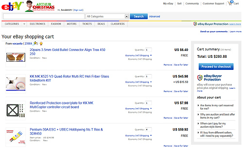 eBayの買い物かご