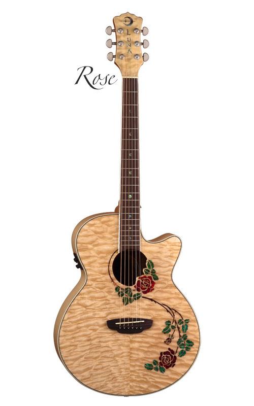 Luna Flora Rose Acoustic Electric Guitar