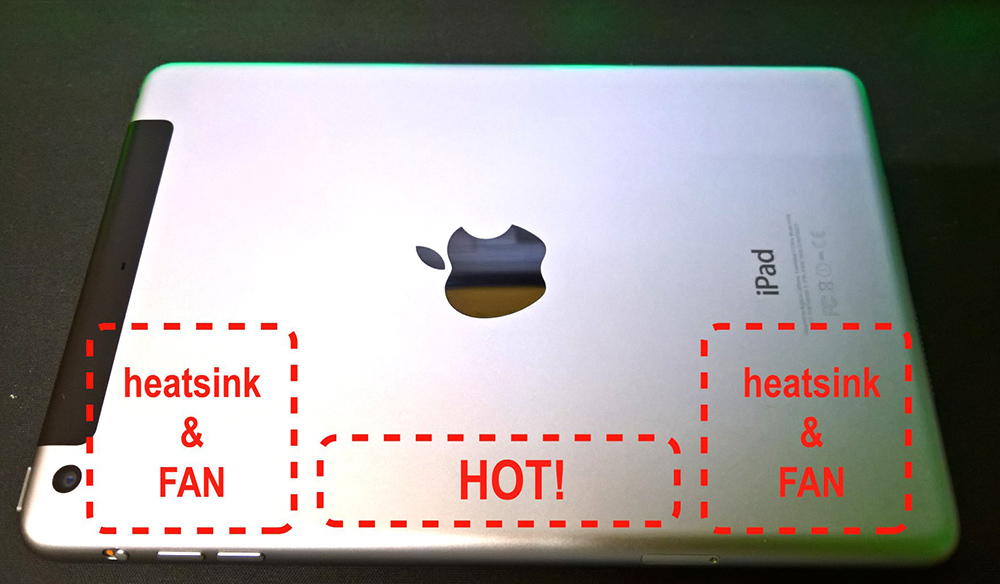 iPad miniの発熱部分