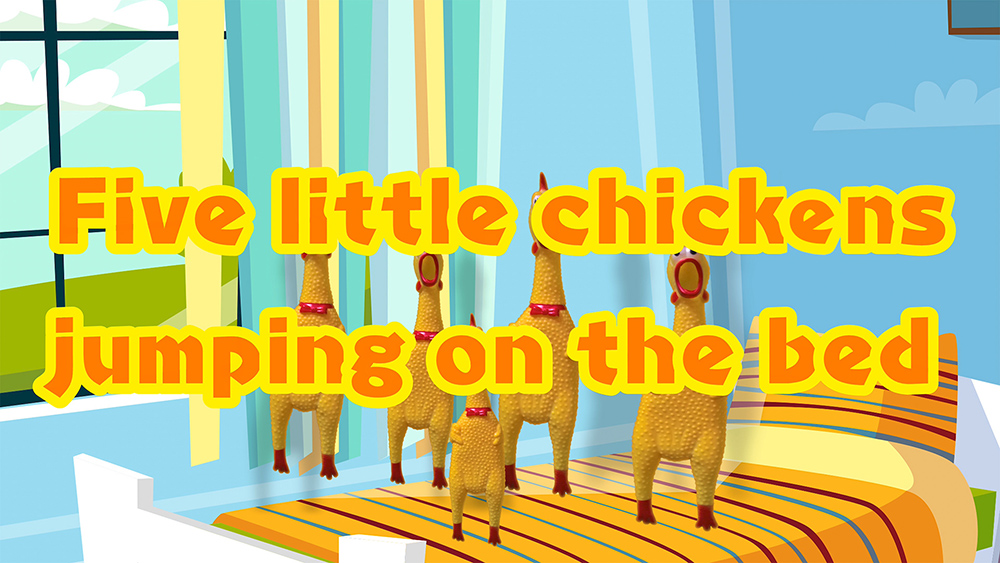 Five Little monkeys Jumping On The Bed - Rubber chickens version