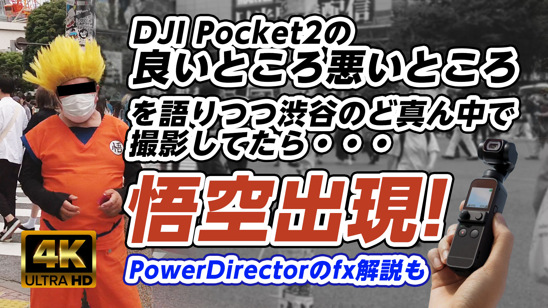 DJI Pocket2の良いところ悪いところを語りつつ渋谷のど真ん中で撮影してたら悟空が出現! - 7/4(日)14:00~の企画撮影の下見を兼ねて